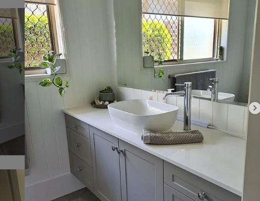 bathroom renovation with VJ walls