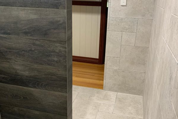 bathroom renovation with french pattern tiles