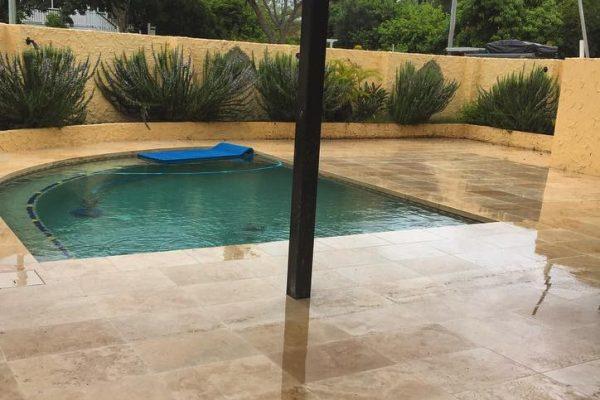pool area renovation using travertine floor tiles 3